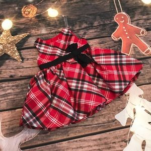 Red black plaid Christmas dress 3 Months